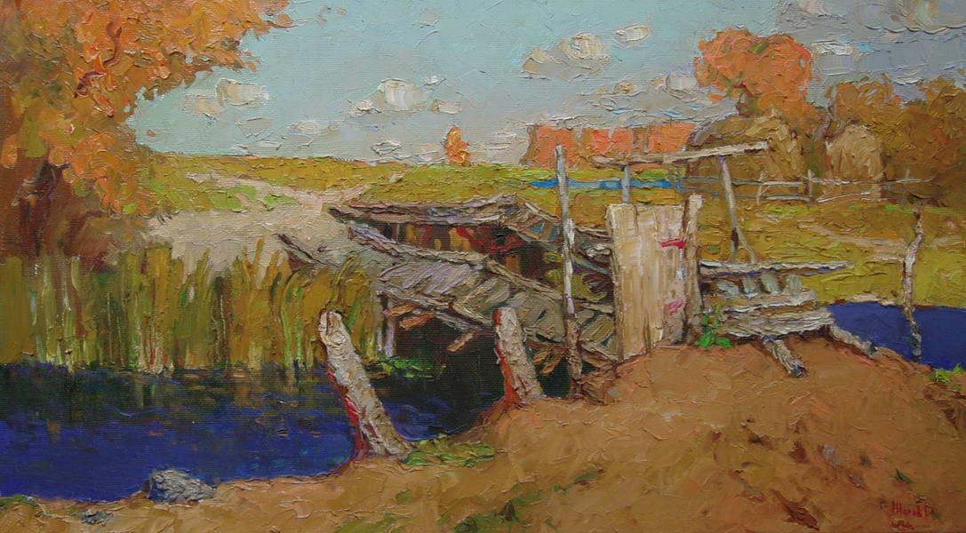 Картина :  Мосток на реке Шукша  Холст. масло  48х87см..