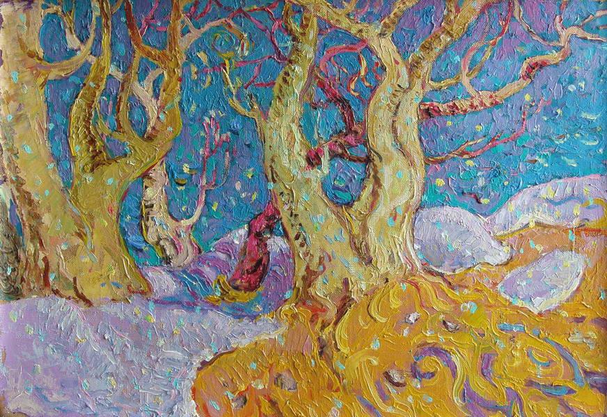 Картина Весенне пробуждение. 2000 Холст.масло 36х50 см.