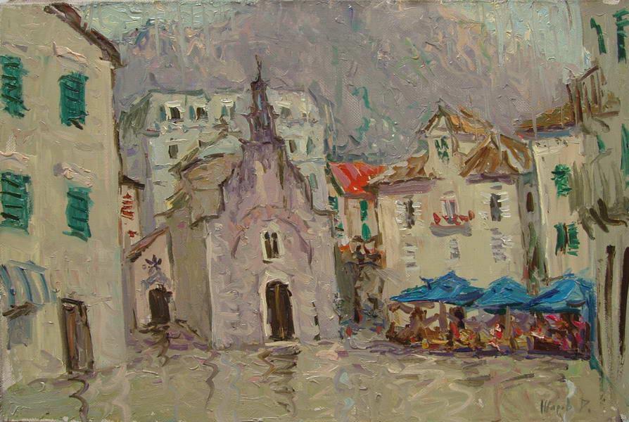 Картина: Котор. Площадь в старом городе.  Холст. масло 40х60см.