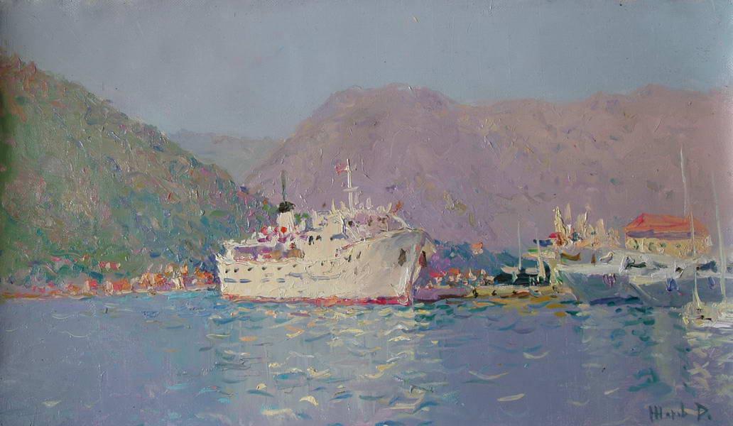 Картина: Корабли в которской бухте. Холст. масло 40х70см.