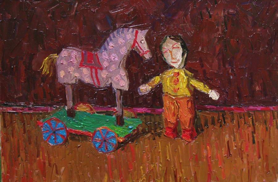Картина: Деревянные игрушки. Серая лошадка. 2008 Холст.масло 30х45 см.