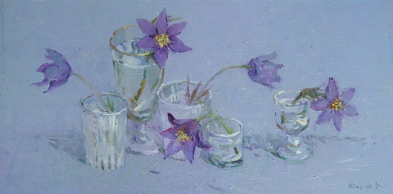 Картина : Весенние цветы. Холст.масло 25х50 см.