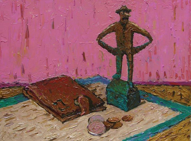 Картина :  Натюрморт с Петровичем. 2008 Холст.масло 30х40 см.