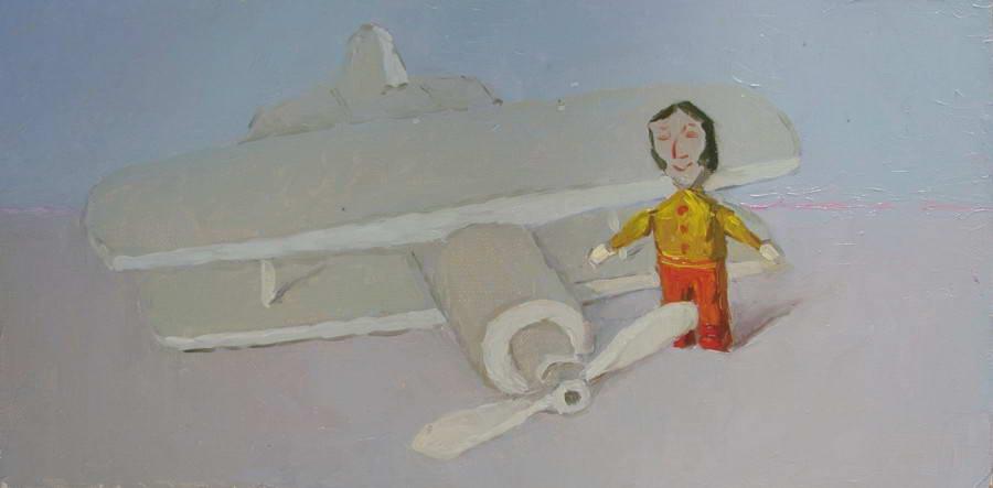 Картина : Деревянные игрушки. Самолёт.Холст.масло 30х60 см.