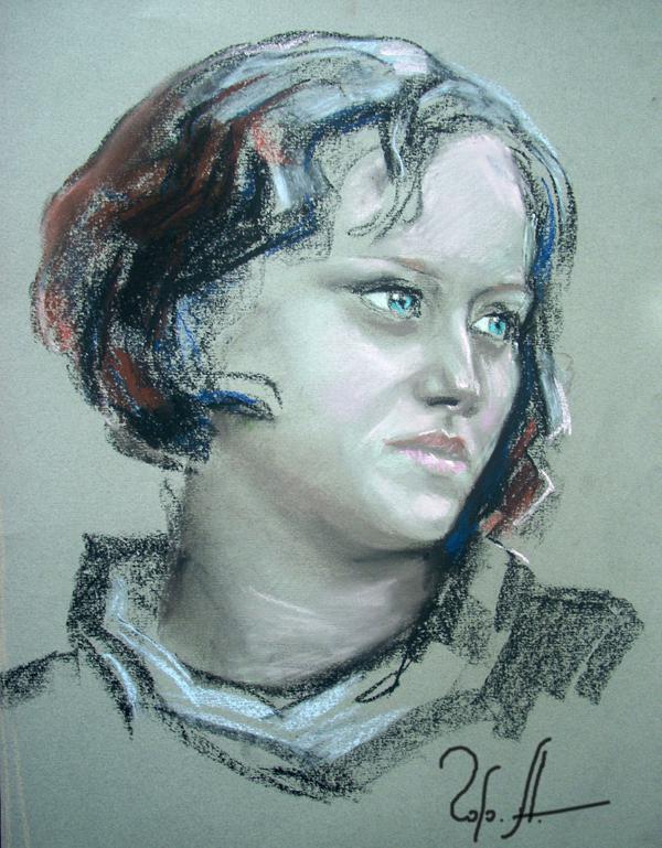 А.Горячев Портрет на заказ по фото 50х40 пастель